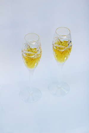 champaigne: Champagne crystal glass flute on New Years Eve Stock Photo