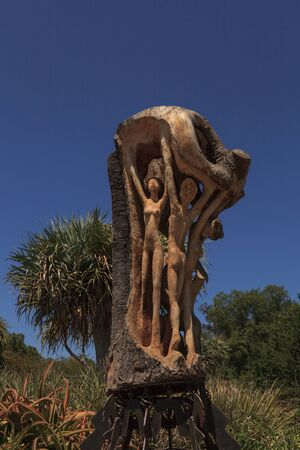 nymphs: Wood carving art - Force Of Nature, Dance of the Wood Nymphs by Charles Dickson displayed in the Los Angeles Arboretum in California, United States, August 2015  Editorial use only