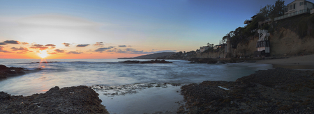 southern california: Sunset over the turret tower at Victoria Beach in Laguna Beach, Southern California