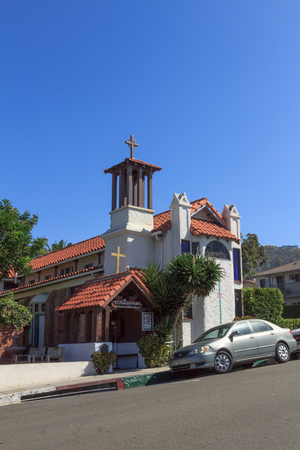 st  francis: September 7, 2015, Laguna Beach, California. St. Francis by the Sea Church in the center of town on Labor Day. Editorial use only