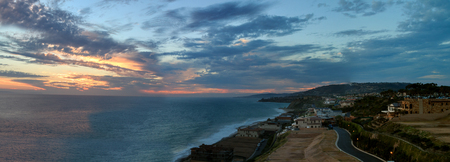 opulence: Panoramic  panorama of The Strand Beach in Dana Point, Southern California at sunset