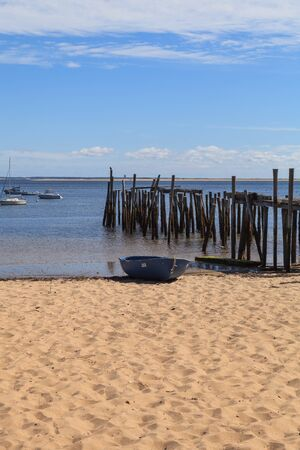 cape cod home: Provincetown, Massachusetts, Cape Cod beach and ocean view with pier. Stock Photo