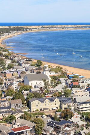 cape cod home: Provincetown, Massachusetts, Cape Cod city view and beach and ocean view from above.