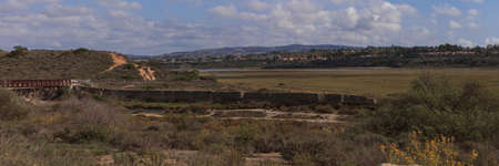 back bay: Panoramic view of Back Bay wetlands in Newport Beach, California Stock Photo