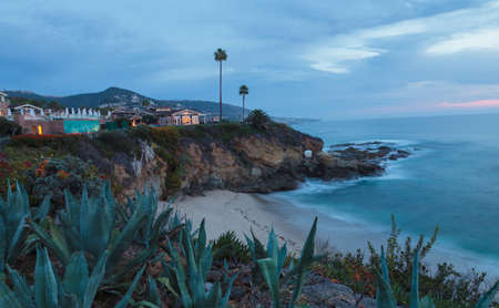 romantic beach: City lights view Laguna Beach at night, from the Montage in Laguna Beach, California. Stock Photo