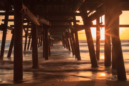 california beach: San Clemente pier at sunset in the fall Stock Photo