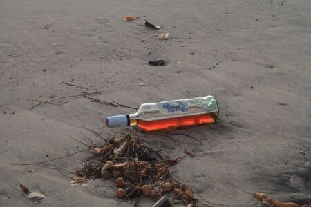 rock bottom: Bottle of alcohol on the beach in front of the San Clemente pier at sunset Stock Photo