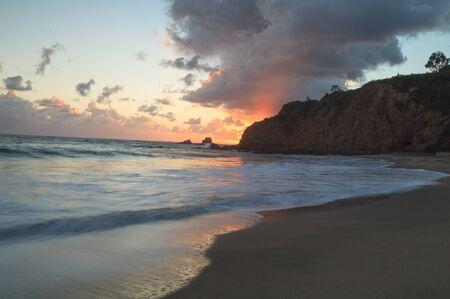 crescent: Sunset over Crescent Bay in Laguna Beach, California in fall