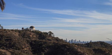 hollywood hills: Los Angeles, California, January 1, 2016: Los Angeles skyline from the Griffith Observatory in Southern California, United States. Editorial use Editorial