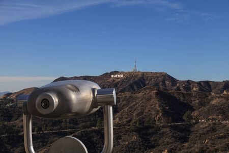 long feet: Los Angeles, California, January 1, 2016: Hollywood sign from a viewer, located in Mount Lee, stretches 45 feet tall and 350 feet long. Editorial use only.