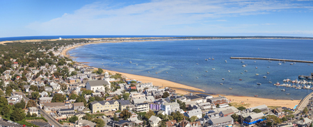 cape cod home: Provincetown, Massachusetts, Cape Cod city view and beach and ocean aerial view from above. Stock Photo
