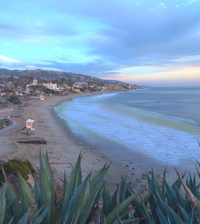 southern california: Sunset view of Main beach in Laguna Beach, Southern California, United States