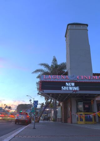 feature films: Laguna Beach, California, March 8, 2016: The Laguna Cinema opened in 1922 and closed in 2015. This classic theater is found on Pacific Coast Highway in the heart of the Laguna Beach village and is a landmark for all who visit. Editorial use only.