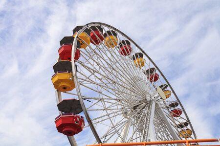 santa monica: Under the Ferris wheel on the Santa Monica Pier boardwalk in Southern California.