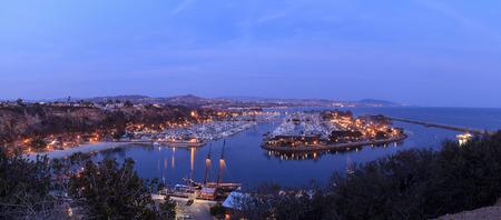 Panoramic view of Dana Point harbor at sunset in Dana Point, California, United States
