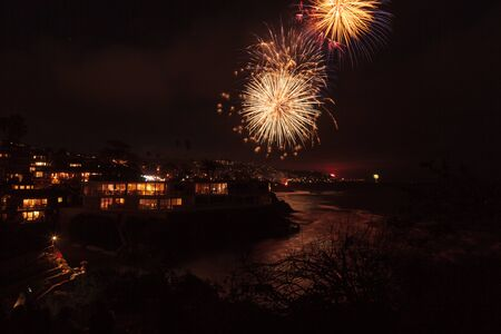 new years vacation: Laguna Beach, California, July 4, 2016: Laguna Beach fireworks  city lights on the forth of July celebration