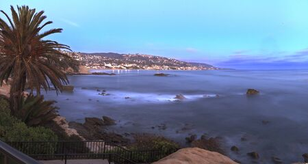 southern california: Panoramic sunset view of Main beach in Laguna Beach, Southern California, United States