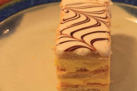 napoleon: Napoleon Italian dessert pastry on a plate Stock Photo