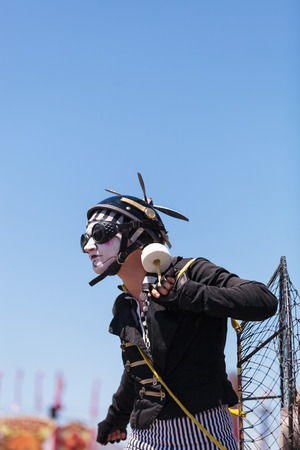 Costa Mesa, California, United States - July 16, 2016: Dragon Knights steampunk stilt walkers perform at the Orange County Fair in Costa Mesa, CA on July 16, 2016. Editorial use only.