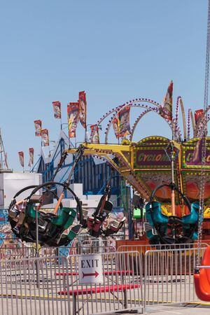 Costa Mesa, California, United States - July 16, 2016: Tornado ride at the Orange County Fair in Costa Mesa, CA on July 16, 2016.  Editorial use only. Editorial