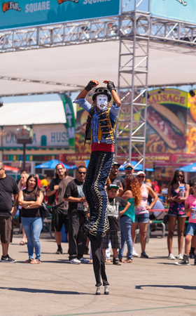 mesa: Costa Mesa, California, United States - July 16, 2016: Dragon Knights steampunk stilt walkers perform at the Orange County Fair in Costa Mesa, CA on July 16, 2016. Editorial use only.