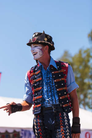 Costa Mesa, California, United States - July 16, 2016: Performer Benjamin Gadbois with the Dragon Knights steampunk stilt walkers at the Orange County Fair in Costa Mesa, CA on July 16, 2016. Editorial use only.