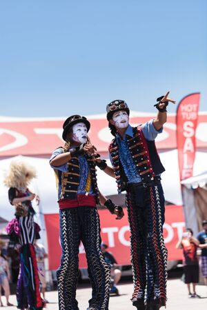 oc: Costa Mesa, CA - July 16, 2016: Close up of the stilts used by Dragon Knights steampunk stilt walkers as they perform at the Orange County Fair in Costa Mesa, CA on July 16, 2016. Editorial use only. Editorial