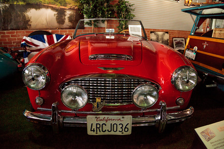 roadster: El Segundo, CA, USA - September 26, 2016: Red 1959 Austin Healey 300 Roadster displayed at the Automobile Driving Museum in El Segundo, California, United States. Editorial use only.
