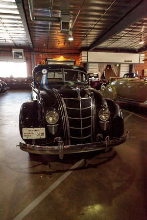 airflow: El Segundo, CA, USA - September 26, 2016: 1935 Chrysler Airflow displayed at the Automobile Driving Museum in El Segundo, California, United States. Editorial use only. Editorial