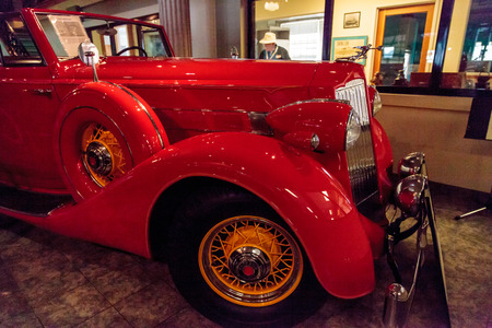 El Segundo, CA, USA - September 26, 2016: Red 1936 Packard Roadster Car displayed at the Automobile Driving Museum in El Segundo, California, United States. Editorial use only. Editöryel