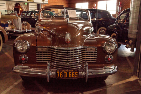 coupe: El Segundo, CA, USA - September 26, 2016: 1941 Cadillac convertible coupe displayed at the Automobile Driving Museum in El Segundo, California, United States. Editorial use only.