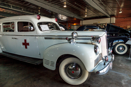 El Segundo, CA, USA - September 26, 2016: White 1942 Packard Ambulance at the Automobile Driving Museum in El Segundo, California, United States. Editorial use only. Editöryel