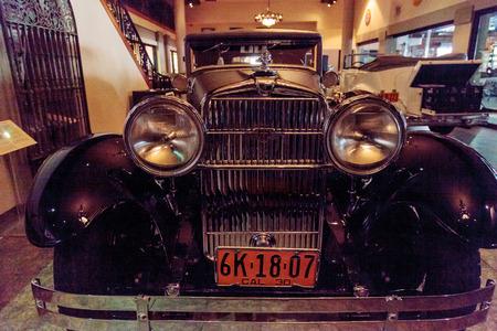 black hawk: El Segundo, CA, USA - September 26, 2016: 1928 Stutz 8 BB black hawk speedster displayed at the Automobile Driving Museum in El Segundo, California, United States. Editorial use only.