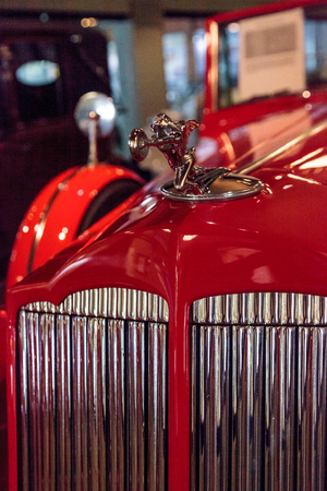 roadster: El Segundo, CA, USA - September 26, 2016: Red 1936 Packard Roadster Car displayed at the Automobile Driving Museum in El Segundo, California, United States. Editorial use only. Editorial