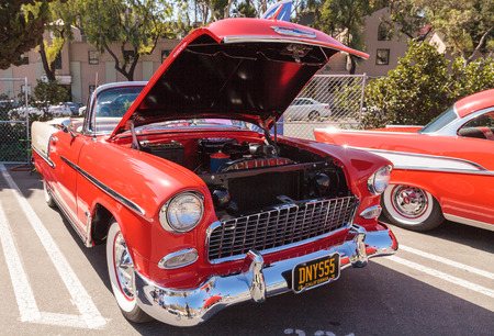 bel air: Laguna Beach, CA, USA - October 2, 2016: Red 1955 Chevrolet Bel Air 2 Door Hardtop owned by Dennis Katovsich and displayed at the Rotary Club of Laguna Beach 2016 Classic Car Show. Editorial use.