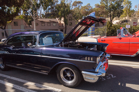 bel air: Laguna Beach, CA, USA - October 2, 2016: Purple 1957 Chevrolet Bel Air owned by David Lockwood and displayed at the Rotary Club of Laguna Beach 2016 Classic Car Show. Editorial use.