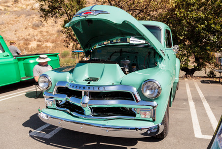 laguna: Laguna Beach, CA, USA - October 2, 2016: Green 1954 Chevrolet 3100 Truck owned by Tom Ferguson and displayed at the Rotary Club of Laguna Beach 2016 Classic Car Show. Editorial use.