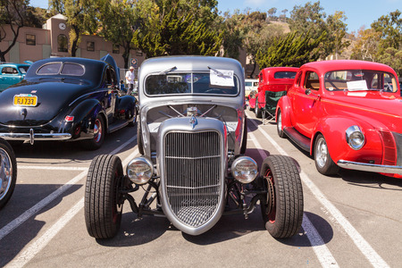 Laguna Beach, CA, USA - October 2, 2016: Silver 1938 Ford Truck Cab Coupe owned by James Valente and displayed at the Rotary Club of Laguna Beach 2016 Classic Car Show. Editorial use.