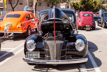 laguna: Laguna Beach, CA, USA - October 2, 2016: Black 1940 Ford Deluxe Sedan owned by Rob Stinson and displayed at the Rotary Club of Laguna Beach 2016 Classic Car Show. Editorial use. Editorial