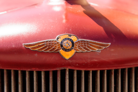 dodge: Laguna Beach, CA, USA - October 2, 2016: Rust red 1971 Dodge truck displayed at the Rotary Club of Laguna Beach 2016 Classic Car Show. Editorial use. Editorial