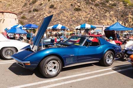 laguna: Laguna Beach, CA, USA - October 2, 2016: Blue 1970 Chevrolet corvette owned by Dennis Steadman and displayed at the Rotary Club of Laguna Beach 2016 Classic Car Show. Editorial use.