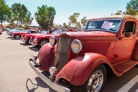 rust red: Laguna Beach, CA, USA - October 2, 2016: Rust red 1971 Dodge truck displayed at the Rotary Club of Laguna Beach 2016 Classic Car Show. Editorial use. Editorial