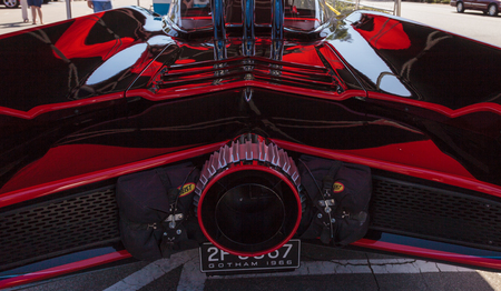 laguna: Laguna Beach, CA, USA - October 2, 2016: Black and red 1966 Batmobile displayed at the Rotary Club of Laguna Beach 2016 Classic Car Show. Editorial use.