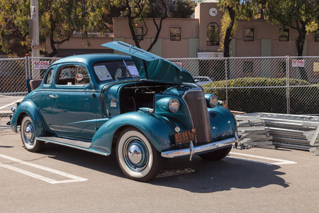 laguna: Laguna Beach, CA, USA - October 2, 2016: Teal 1937 Chevrolet Master Deluxe owned by Dwayne Mears and displayed at the Rotary Club of Laguna Beach 2016 Classic Car Show. Editorial use.