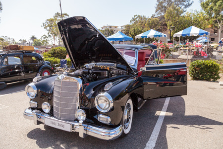 laguna: Laguna Beach, CA, USA - October 2, 2016: Black 1961 Mercedes Benz 300d owned by Barry Sohnen and displayed at the Rotary Club of Laguna Beach 2016 Classic Car Show. Editorial use. Editorial