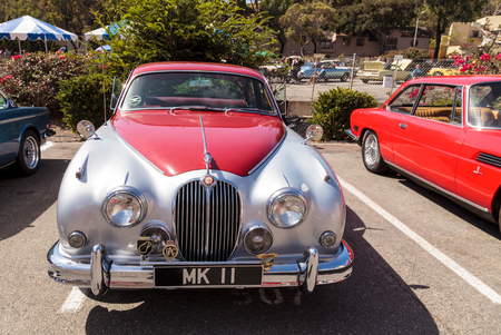 laguna: Laguna Beach, CA, USA - October 2, 2016: Red classic Jaguar 3.8 GB displayed at the Rotary Club of Laguna Beach 2016 Classic Car Show. Editorial use. Editorial