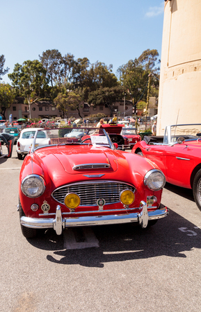 laguna: Laguna Beach, CA, USA - October 2, 2016: Red 1961 Austin Healey 3000 owned by Andy Nelson and displayed at the Rotary Club of Laguna Beach 2016 Classic Car Show. Editorial use. Editorial