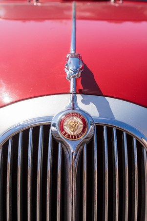 Laguna Beach, CA, USA - October 2, 2016: Red classic Jaguar 3.8 GB displayed at the Rotary Club of Laguna Beach 2016 Classic Car Show. Editorial use. Editorial