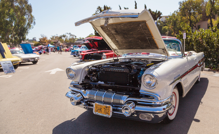 Laguna Beach, CA, USA - October 2, 2016: Cream 1957 Pontiac Bonniville owned by Kip Cyprus and displayed at the Rotary Club of Laguna Beach 2016 Classic Car Show. Editorial use.