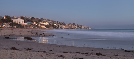 laguna: Main Beach city view in Laguna Beach, California at sunset.